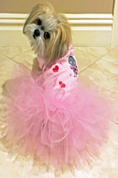 Love Bug Dress make a tail wag, dog dress, valentines dog, holiday dog dress, love bug dress, small dog clothes, oet clothes, luxury dog boutique