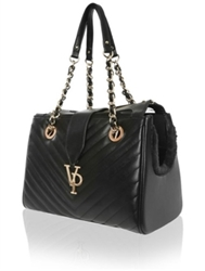 Vanderpump Black Monogramme Chain Pet Carrier