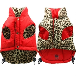 Red/Leopard Reversible Puffer Coat kosher, hanukkah, toy, jewish, toy, puppy bed,  beds,dog mat, pet mat, puppy mat, fab dog pet sweater, dog swepet clothes, dog clothes, puppy clothes, pet store, dog store, puppy boutique store, dog boutique, pet boutique, puppy boutique, Bloomingtails, dog, small dog clothes, large dog clothes, large dog costumes, small dog costumes, pet stuff, Halloween dog, puppy Halloween, pet Halloween, clothes, dog puppy Halloween, dog sale, pet sale, puppy sale, pet dog tank, pet tank, pet shirt, dog shirt, puppy shirt,puppy tank, I see spot, dog collars, dog leads, pet collar, pet lead,puppy collar, puppy lead, dog toys, pet toys, puppy toy, dog beds, pet beds, puppy bed,  beds,dog mat, pet mat, puppy mat, fab dog pet sweater, dog sweater, dog winte