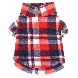 Red/Navy Plaid Sherpa Pullover with Zipper wooflink, susan lanci, dog clothes, small dog clothes, urban pup, pooch outfitters, dogo, hip doggie, doggie design, small dog dress, pet clotes, dog boutique. pet boutique, bloomingtails dog boutique, dog raincoat, dog rain coat, pet raincoat, dog shampoo, pet shampoo, dog bathrobe, pet bathrobe, dog carrier, small dog carrier, doggie couture, pet couture, dog football, dog toys, pet toys, dog clothes sale, pet clothes sale, shop local, pet store, dog store, dog chews, pet chews, worthy dog, dog bandana, pet bandana, dog halloween, pet halloween, dog holiday, pet holiday, dog teepee, custom dog clothes, pet pjs, dog pjs, pet pajamas, dog pajamas,dog sweater, pet sweater, dog hat, fabdog, fab dog, dog puffer coat, dog winter jacket, dog col