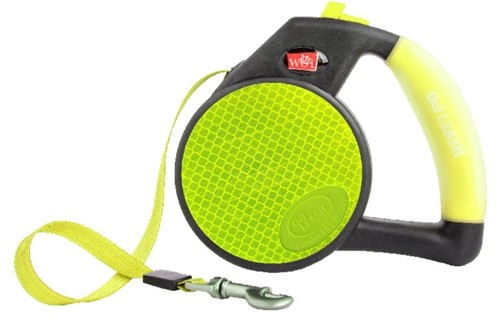 Reflective Yellow Retractable Gel Leash The new Reflective Gel Leash by Wigzi allows you to be super comfortable and also be seen at night with the reflective panels and tape that continue all the way from the front of the clip to the back. Youll also enjoy smooth retraction and easy to use buttons to control your dog. The Reflective Gel Leash is made with the highest quality parts and will last for years. Inside each leash are stainless steel springs that wont rust and wil keep retracting for years.  Tape Leads Small - Up to 26lbs (13 feet) Medium - Up to 44lbs (16 feet) Large - Up to 110lbs (16 feet)  2 year warranty