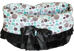 Snuggle Bug Reversible 3 in 1-Dog Bag, Bed & Car Seat-Aqua Party Dots