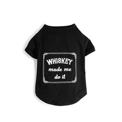 Whiskey Made Me Do It Tee Roxy & Lulu, wooflink, susan lanci, dog clothes, small dog clothes, urban pup, pooch outfitters, dogo, hip doggie, doggie design, small dog dress, pet clotes, dog boutique. pet boutique, bloomingtails dog boutique, dog raincoat, dog rain coat, pet raincoat, dog shampoo, pet shampoo, dog bathrobe, pet bathrobe, dog carrier, small dog carrier, doggie couture, pet couture, dog football, dog toys, pet toys, dog clothes sale, pet clothes sale, shop local, pet store, dog store, dog chews, pet chews, worthy dog, dog bandana, pet bandana, dog halloween, pet halloween, dog holiday, pet holiday, dog teepee, custom dog clothes, pet pjs, dog pjs, pet pajamas, dog pajamas,dog sweater, pet sweater, dog hat, fabdog, fab dog, dog puffer coat, dog winter ja